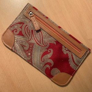 ETRO Clutch Pouch Red Brown Paisley Cosmetic Bag
